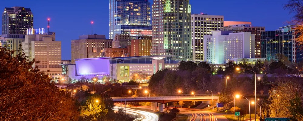 skyline view of downtown Raleigh at night
