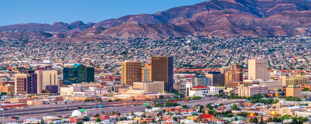 Aerial View of City Skyline in Southwestern United States