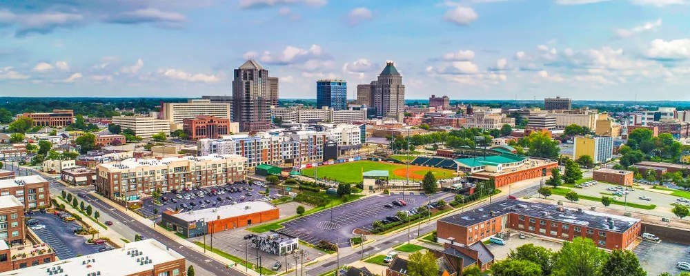 Aerial View of Downtown Greensboro on a Nice Day