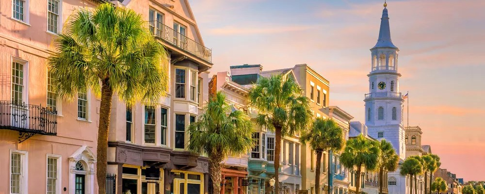 Street side view of downtown Charleston at dusk