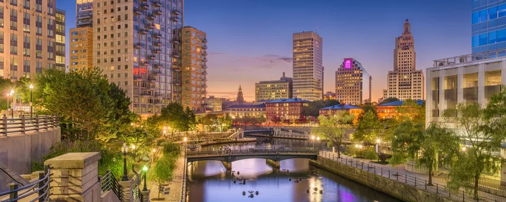 Downtown Providence, RI at Night with Skyline Lit Up
