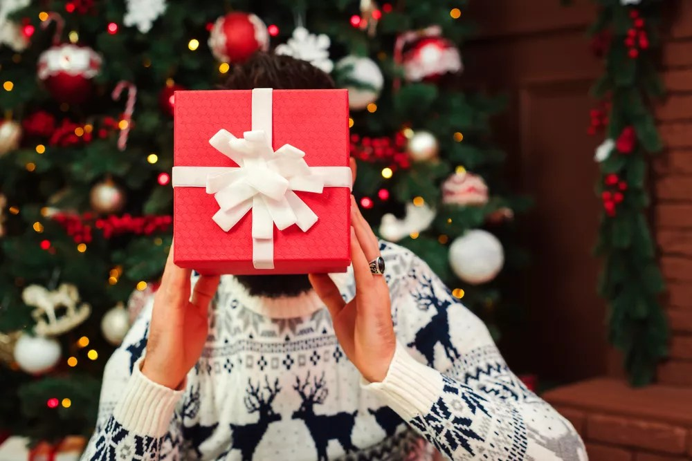 Person Holding a Wrapped Gift in Front of Their Face