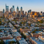 Aerial shot of downtown Philadelphia and surrounding area