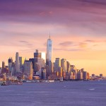 Downtown New York City Skyline at Golden Hour