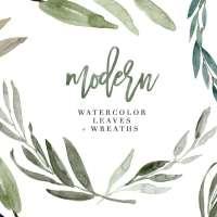 Modern Watercolor Leaves Clipart, Eucalyptus Wreath, Greenery Rustic Wedding Clipart