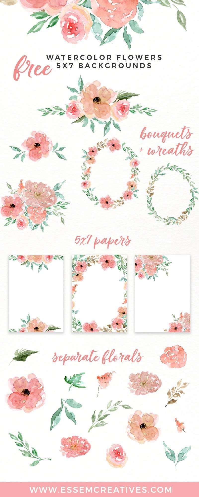 medium resolution of free watercolor flowers clipart floral wreaths 5x7 borders backgrounds use these free digital