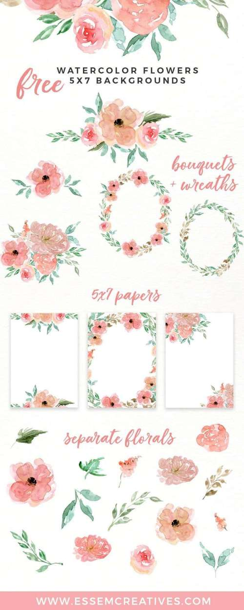small resolution of free watercolor flowers clipart floral wreaths 5x7 borders backgrounds use these free digital
