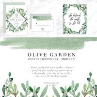Watercolor Olive Branch Clipart, Olive Leaves Wreath, Leaf Clipart, Laurel Wreaths