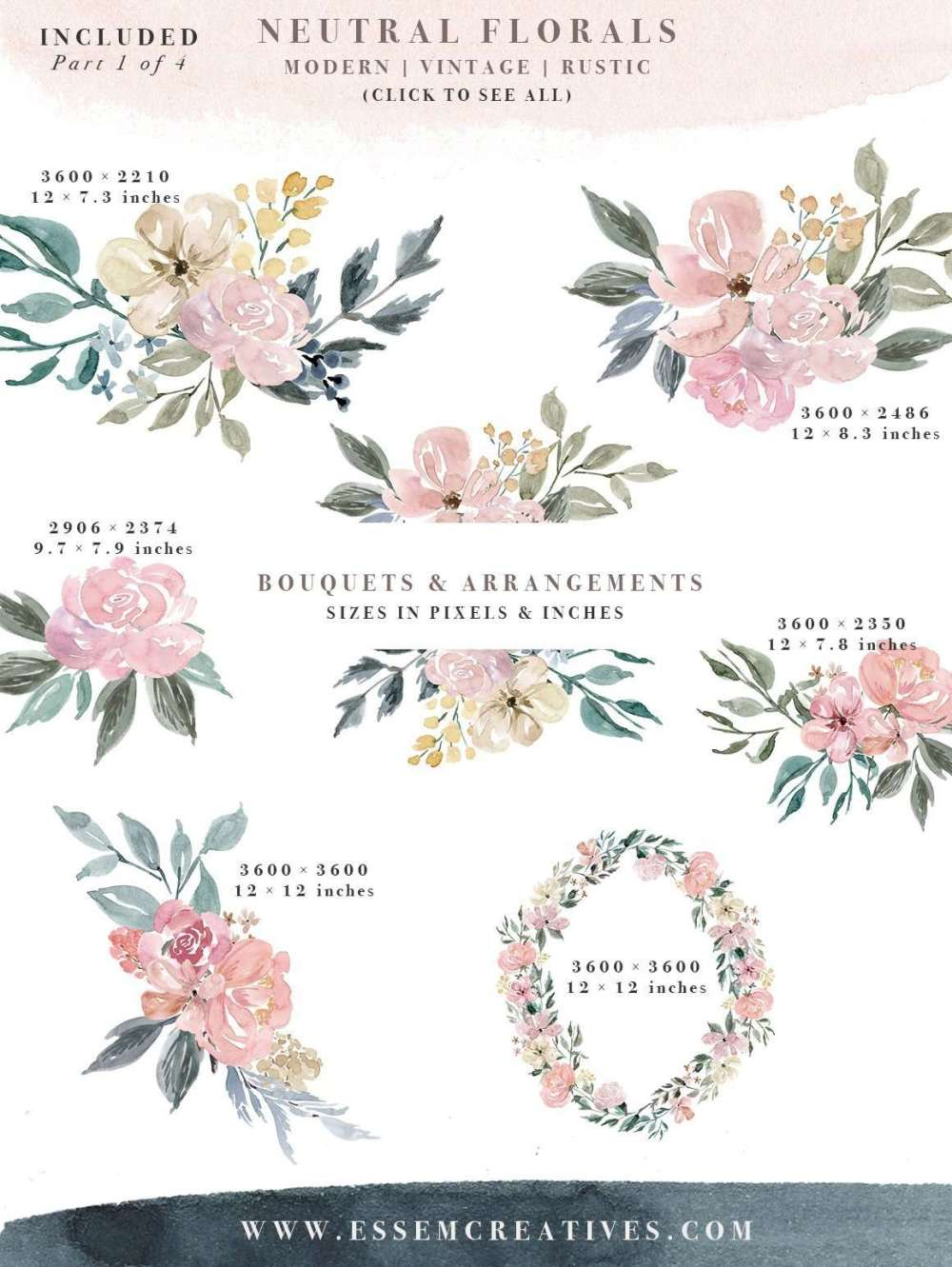 medium resolution of neutral watercolor flowers clipart floral borders frames watercolor background rustic clipart