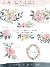 Neutral Watercolor Flowers Clipart, Floral Borders ...