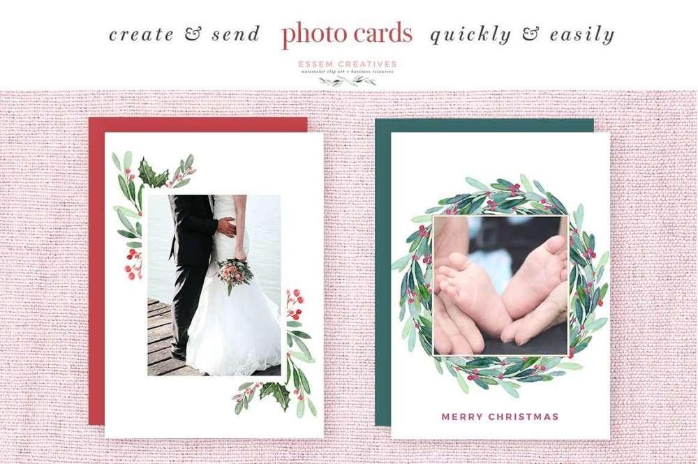 medium resolution of watercolor christmas wreath clipart christmas card templates 5x7 a4 digital borders frames
