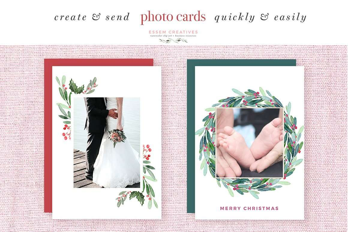 hight resolution of watercolor christmas wreath clipart christmas card templates 5x7 a4 digital borders frames