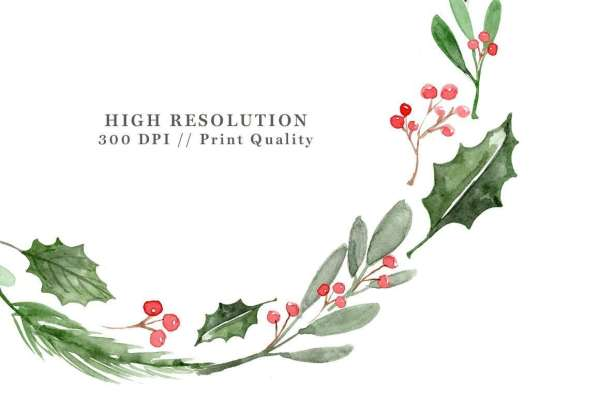 watercolor christmas wreath clipart