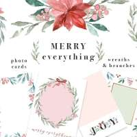 Watercolor Christmas Card Template, Christmas Wreath Clipart, Mistletoe Clipart, Poinsettia Flower Clipart