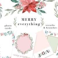 Watercolor Christmas Card Template, Christmas Wreath Clipart, Mistletoe Clipart, Poinsettia Flower Clipart