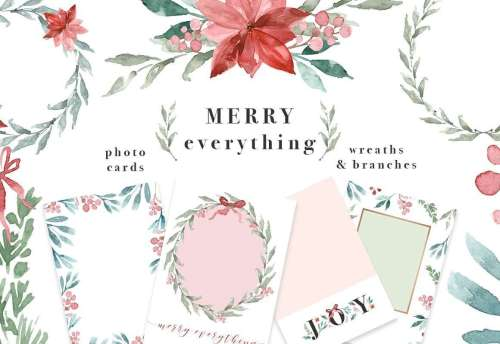 small resolution of merry everything is a watercolor christmas card template wreaths clipart set it includes