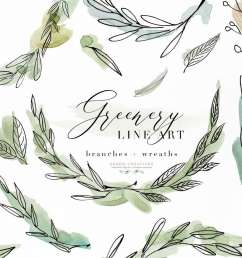 greenery line art watercolor clipart olive eucalyptus branches tropical fine art botanical ink graphics [ 1000 x 1000 Pixel ]