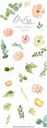 watercolor pink flowers clipart peach floral clip anemone peony flower essemcreatives painting paintings essem creatives sold