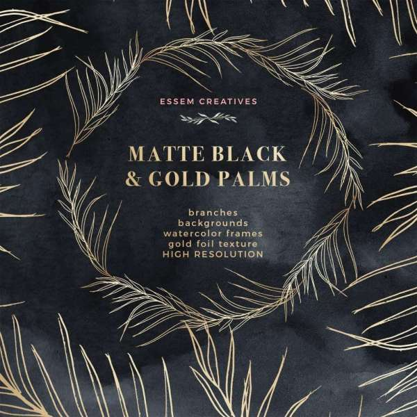 Tropical Wedding Invitations with Gold and Black