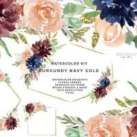 Burgundy Navy Gold Watercolor Flowers Clipart, Geometric Gold Glitter Floral Frames Borders Seamless Patterns Digital Papers