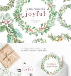 this is a set of lush watercolor christmas wreath clipart set in a greenery leaves theme [ 1000 x 1468 Pixel ]