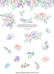 watercolor flowers clipart pastel purple pink background floral transparent graphics clip teal rainbow unicorn magical colors soft table painted cards