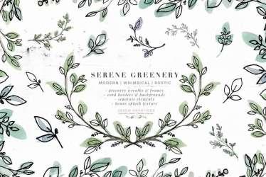 Serene Greenery Watercolor Leaves Clipart Rustic Botanical Line Art PNG