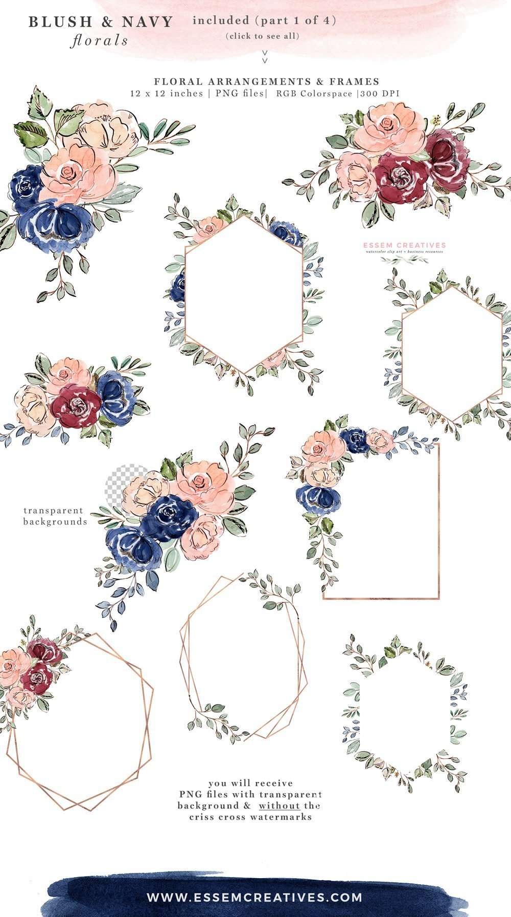 Blush And Navy Blue Watercolor Flowers Clipart Wedding Invitation Backgrounds