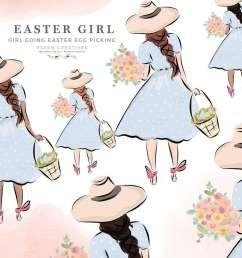 easter girl on egg hunt holding a basket and spring flowers clipart digital graphics illustrations  [ 1000 x 1000 Pixel ]