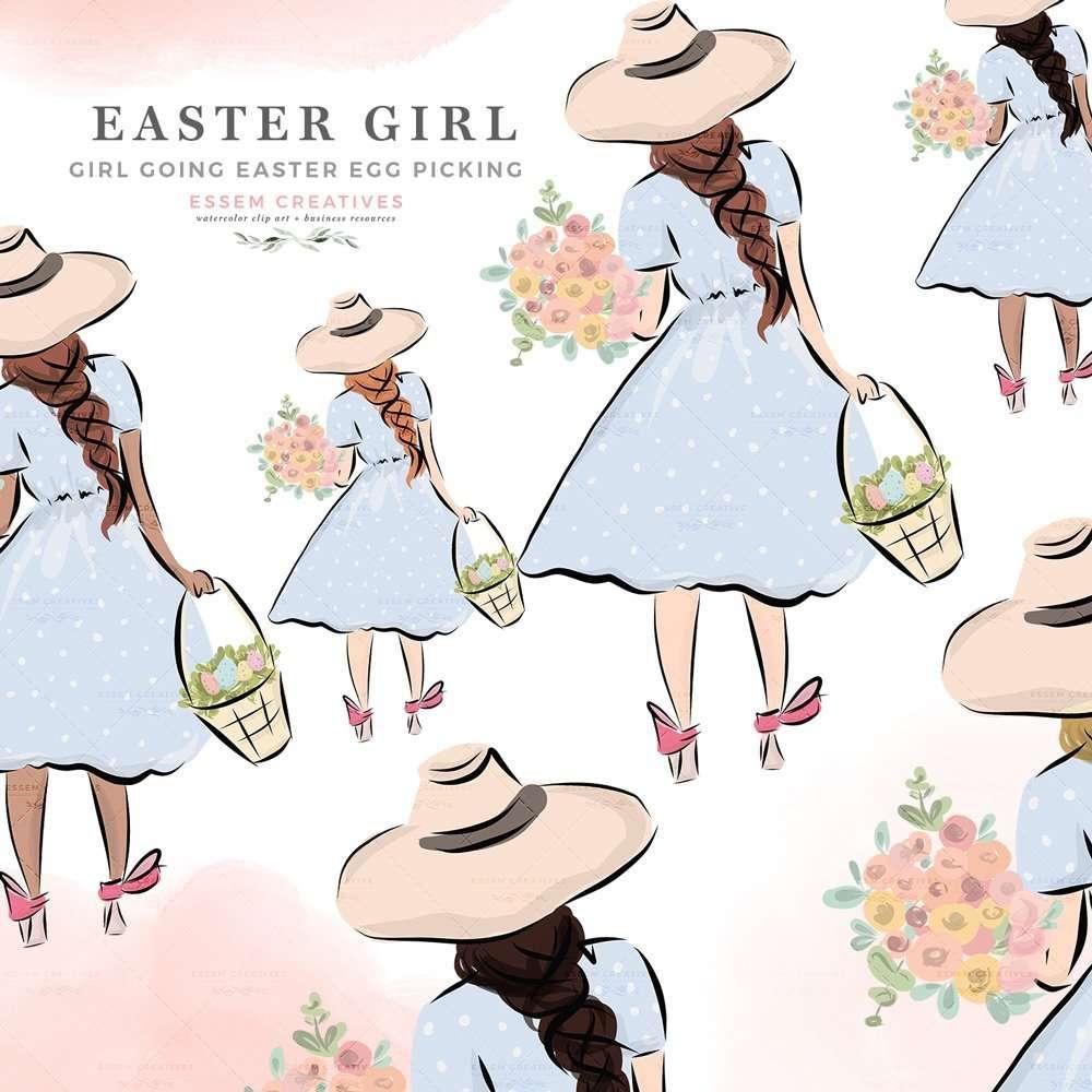 medium resolution of easter girl on egg hunt holding a basket and spring flowers clipart digital graphics illustrations