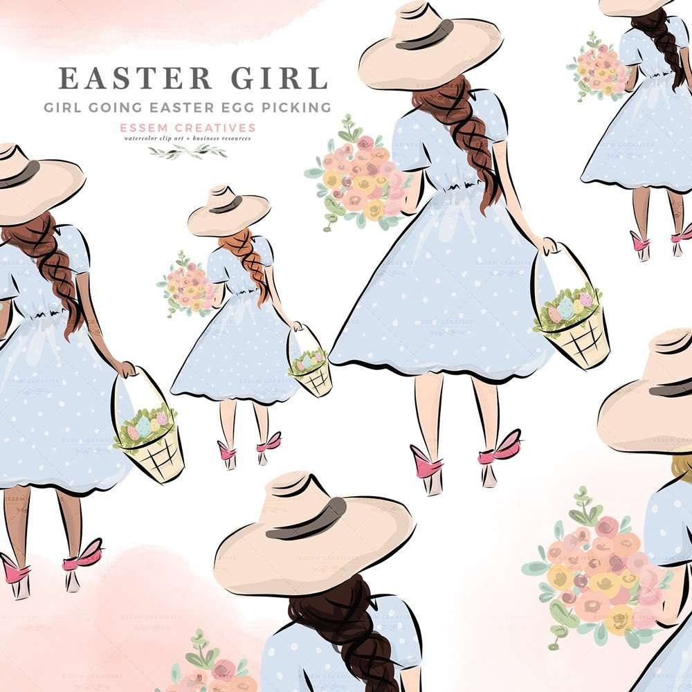 hight resolution of easter girl on egg hunt holding a basket and spring flowers clipart digital graphics illustrations