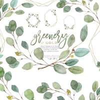 Greenery and Gold Wedding Invitation Graphics, Eucalyptus Branch Leaves Clipart for Invitations Logo Stationery Welcome Signs