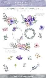 purple watercolor flowers clip lavender floral silver violet graphics frames bouquets flower clipart wedding header wild bells blooms nature wildflowers