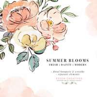 Summer Floral Watercolor Graphics Clip Art, Blush Pink Peach Yellow Peonies and Roses PNG Line Art Botanical Drawings