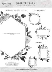 clipart flower floral wedding graphics watercolor flowers gray illustrations monochrome borders hydrangea soft backgrounds stationery clip noir essemcreatives roses graphic