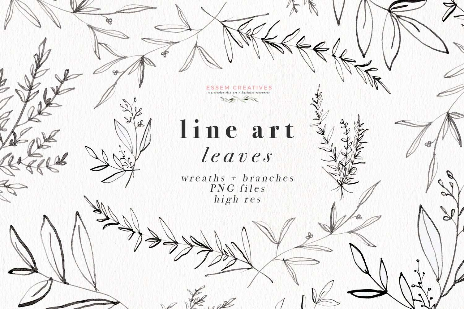 Line Art Leaves Clipart Botanical Print Illustration