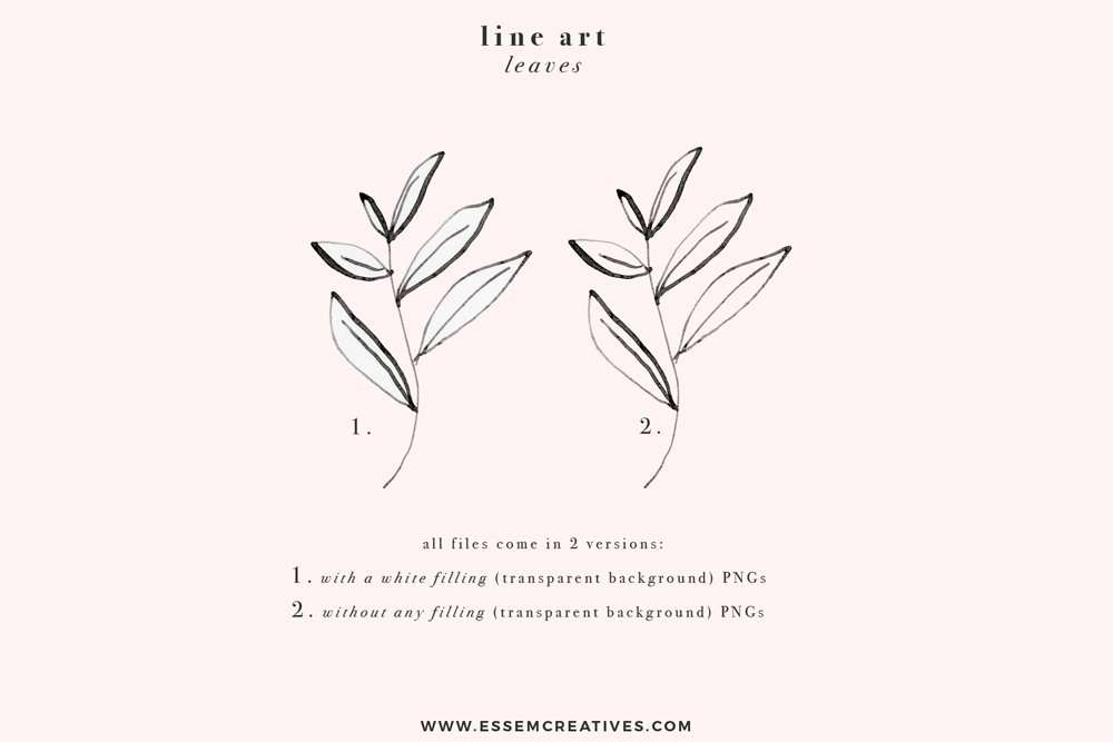 Line Art Leaves Clipart, Botanical Print Illustration