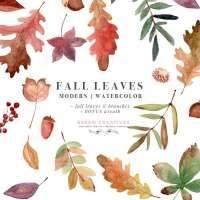 Watercolor Fall Leaves Clipart, Thanksgiving Fall Wedding Bridal Shower Invitation Graphic with Transparent Background
