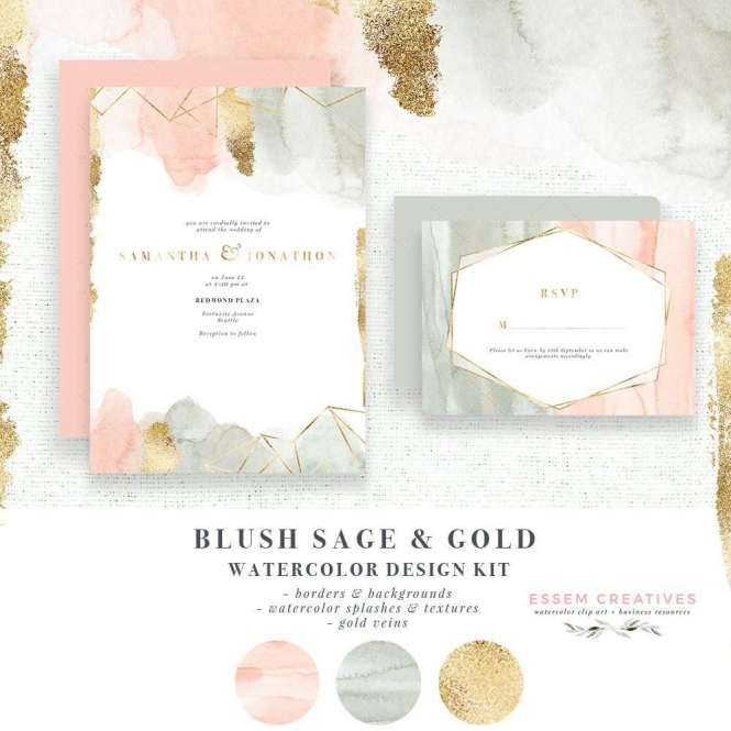 Watercolor Wedding Invitation Border Blush Pink Sage Green Abstract Clipart Backgrounds With Gold Veins Geometric