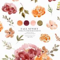 Fall Watercolor Flowers Clipart Graphics with Transparent Background, Orange Rust Thanksgiving Florals