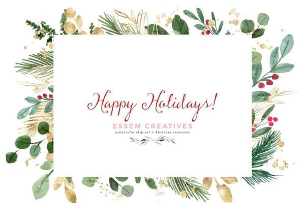 watercolor christmas clipart wreath