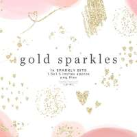 Gold Sparkles Glitter Confetti Overlay Clipart with Transparent Background