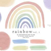 Watercolor Rainbow Clipart Graphics, Colorful Rainbow Background for Kids Craft Projects Invitations Scrapbooking