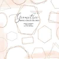 Rose Gold Frames PNG Clipart, Digital Rose Gold Geometric Polygonal Crystal Shapes Graphics