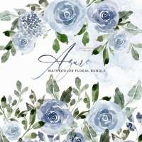 Azure Blue Watercolor Flowers Clipart, Pale Dusty Blue Graphics Background Card Borders Templates