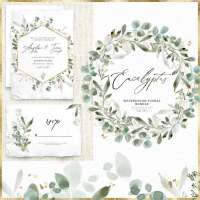 Watercolor Eucalyptus Clipart, Light and Gold Eucalyptus Leaves Greenery Foliage Wreath Gold Frame Graphics PNG