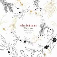 Christmas Line Art Wreath Clipart, Holly Mistletoe Clip Art, Winter Green PNG for Card Border Background