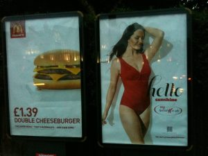 Advert of Mac Donalds next to Special K