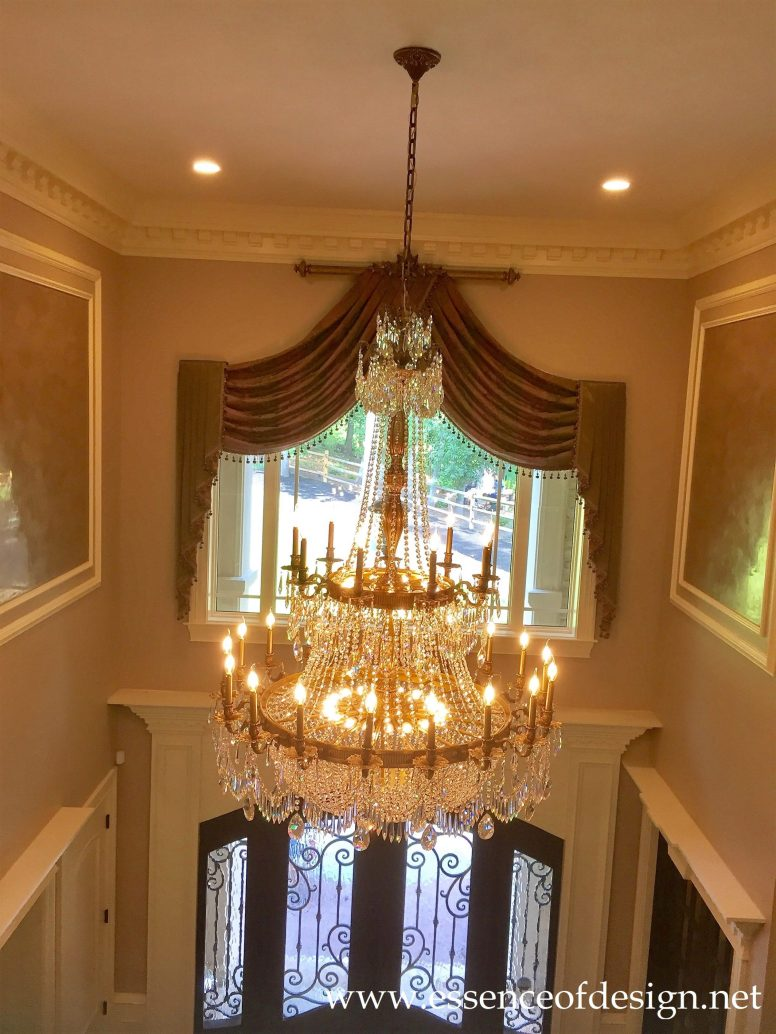 Potomac-MD-Interior-Designer-Shiva-Rostami-GreatFalls-VA-project-Foyer-custom-draperies-grand-chandelier