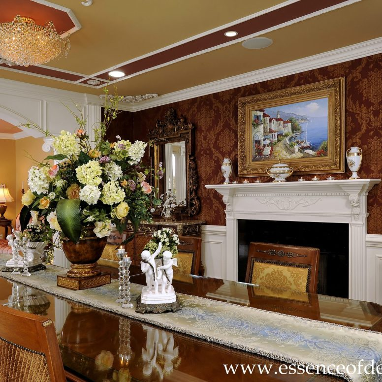 Potomac-MD-interior-designer-Shiva-Rostami-dining-room-elegant-traditional-custom-millwork-McLean-Virginia